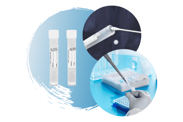 Collage of two sterile transport tubes with an image of a swab being inserted into one of the tubes, and another picture of a gloved hand pipetting into a tube with a background of different blue hues